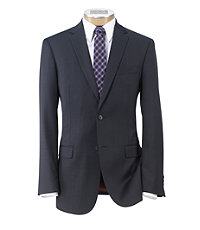 Joseph Slim Fit 2-Button Suits with Plain Front Trousers- Navy Textured