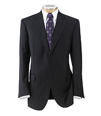 Signature Gold 2-Button Wool Pleated Front Suit- Black Milled Chalk