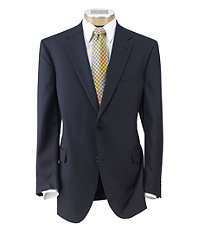 Signature Imperial Wool/Silk Suit with Pleated Trousers Extended Sizes- Dark Navy Satin Weave
