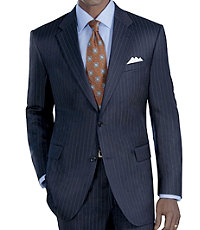 Signature Imperial Wool/Silk Suit with Plain Front Trousers- Dark Navy Satin Weave