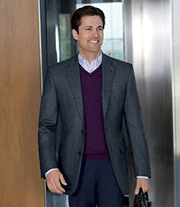 Traveler Wool Tailored Fit 2-Button Sportcoat Extended Sizes