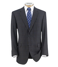 Executive 2-Button Wool/Silk Patterned Sportcoat Extended Sizes