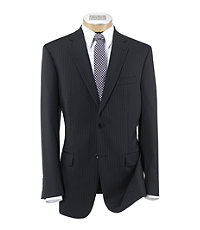 Traveler Tailored Fit 2-Button Suit with Plain Front Trousers- Black Twill Text Stripe