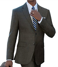 Traveler Tailored Fit 2-Button Suit with Plain Front Trousers Extended Sizes- Olive Sharkskin Windowpane