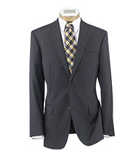 Signature Gold 2-Button Tailored Fit Wool Suit- Grey Stripe
