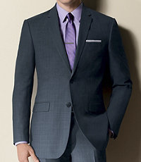 Joseph Slim Fit 2-Button Suits with Plain Front Trousers- Grey/Blue Windowpane