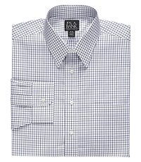 Traveler Tailored Fit Point Collar Medium Check Dress Shirt