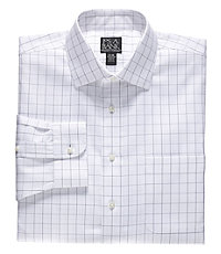 Traveler Spread Collar Windowpane Dress Shirt