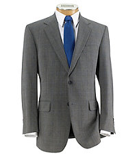 Executive 2-Button Wool Suit with Pleated Trousers - Oxford Grey Plaid w Blue