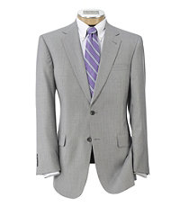 Signature 2-Button Wool Pleated Suit Regal- Light Grey Sharkskin