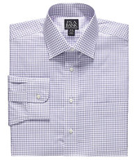 Traveler Tailored Fit Spread Collar Medium Check Dress Shirt