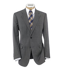Executive 2-Button Wool Suit with Plain Front Trousers Extended Sizes - Black/White Tic Weave