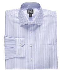 Traveler White Ground Mini-Check Spread Collar Dress Shirt Big or Tall