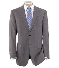 Traveler Traditional Fit 2Button Suits Plain Front Trousers Extended Sizes- Light Grey Sharkskin