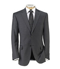 Traveler Traditional Fit 2Button Suits Plain Front Trousers Extended Sizes- Medium Grey Sharkskin