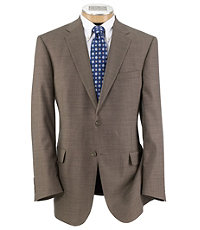 Traveler Traditional Fit 2Button Suits Plain Front Trousers Extended Sizes- Taupe Sharkskin