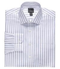 Traveler Spread Collar Wide Set Stripe Dress Shirt