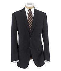 Joseph Slim Fit 2-Button Suits with Plain Front Trousers- Black Stripe