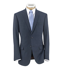 Joseph Slim Fit 2-Button Suits with Plain Front Trousers- Blue Corded Stripe