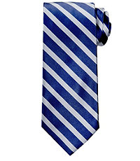 Signature Satin with Stripe Long Tie