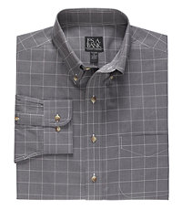 Long Sleeve Traveler Glen Plaid Buttondown Sportshirt Tailored Fit