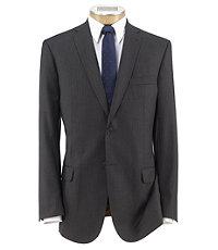 Joseph Slim Fit 2-Button Suits with Plain Front Trousers Extended Sizes- Grey Stripe w Blue Deco