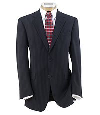 Executive 2-Button Wool Suit with Pleated Trousers - Navy Stripe