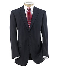 Executive 2-Button Wool Suit with Pleated Trousers Extended Sizes