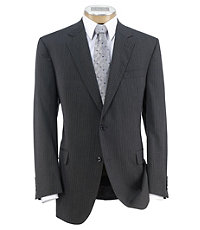 Executive 2-Button Wool Suit with Pleated Front Trousers - Charcoal Double Stripe