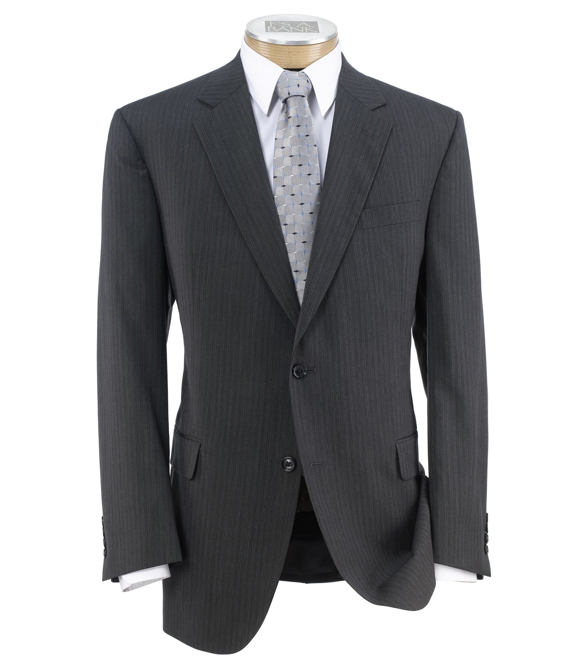 Executive 2-Button Wool Suit with Plain Front Trousers - Charcoal Double Stripe