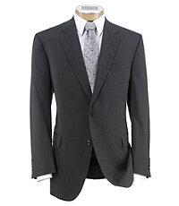Executive 2-Button Wool Suit with Plain Front Trousers Extended Sizes - Charcoal Double Stripe