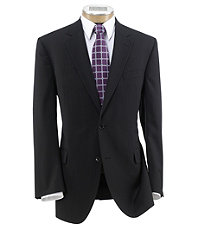 Executive 2-Button Wool Suit with Plain Front Trousers - Black Stripe