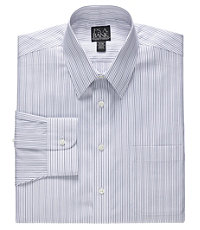 Traveler Tailored Fit Point Collar Double Stripe Dress Shirt