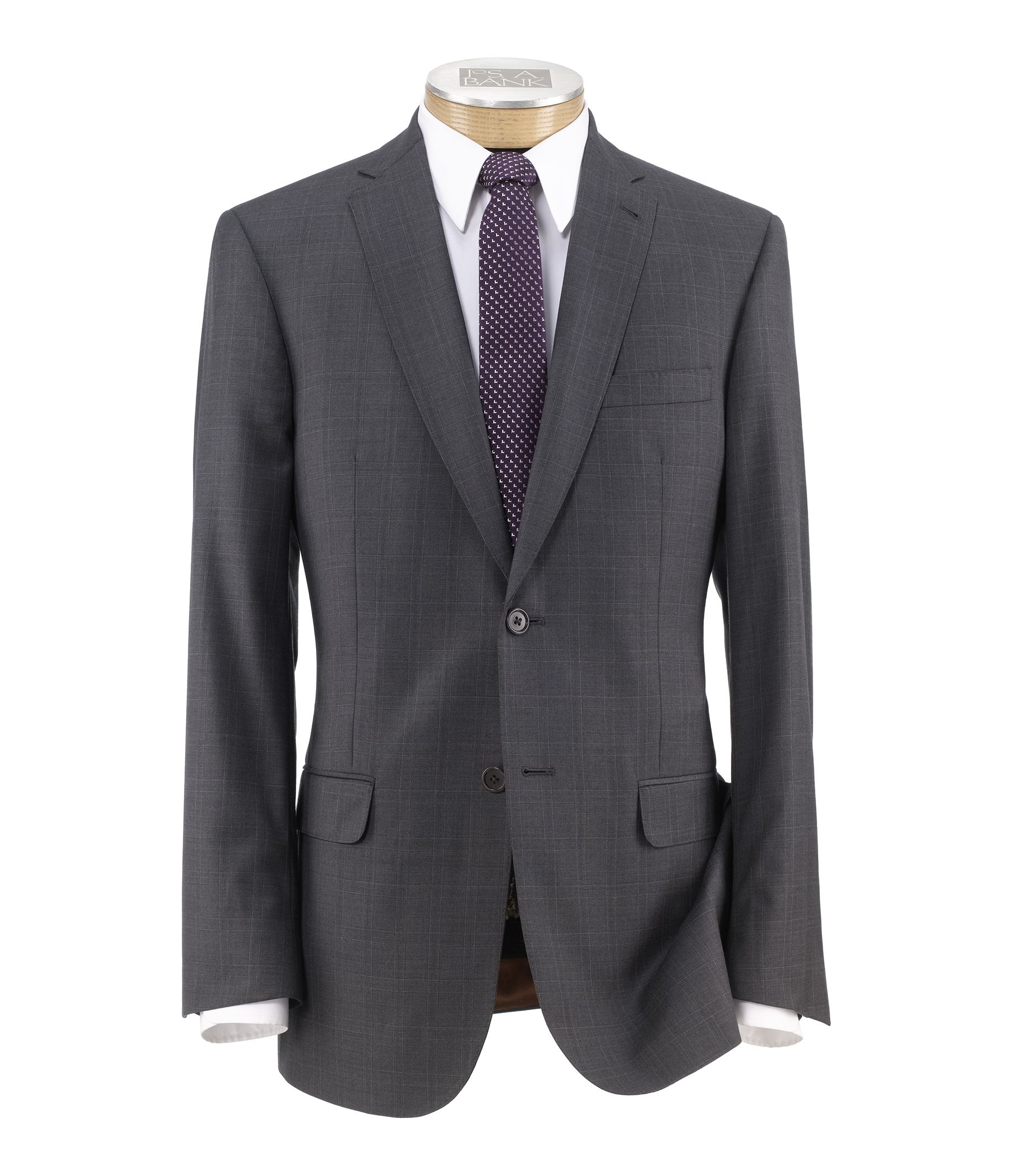 Joseph Slim Fit 2-Button Suits with Plain Front Trousers- Grey Twill Windowpane