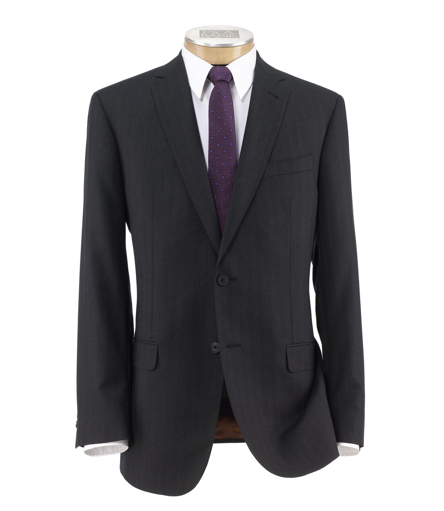 Joseph Slim Fit 2 Button Plain Front Wool Suit- Charcoal Striped Milled