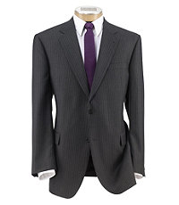 Signature Imperial Wool/Silk Suit with Pleat Front Trousers Extended Sizes