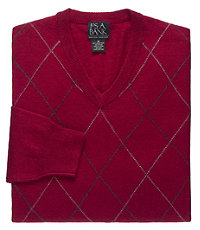 Lambswool Subtle Tonal Argyle V-Neck Sweater