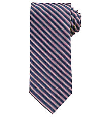 Signature Satin Navy Stripe Long Tie