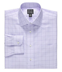 Traveler Spread Collar Plaid Dress Shirt