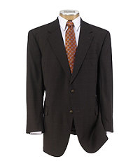 Executive 2-Btn Wool Suit w/Center Vent and Plain Front Trousers - Extended Sizes