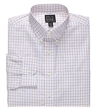 Traveler Wrinkle Free Tailored Fit Patterned Button Down Dress Shirt