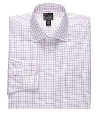 Traveler Wrinkle Free Tailored Fit Windowpane Spread Collar Dress Shirt