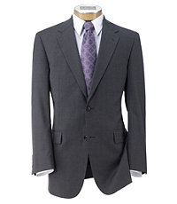 Executive 2-Button Wool Suit with Pleated Front Trousers- Light Grey Stripe