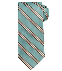 Signature Herringbone Tan Stripe Extra Long Tie