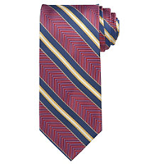 Signature Gold Herringbone Stripe Long Tie