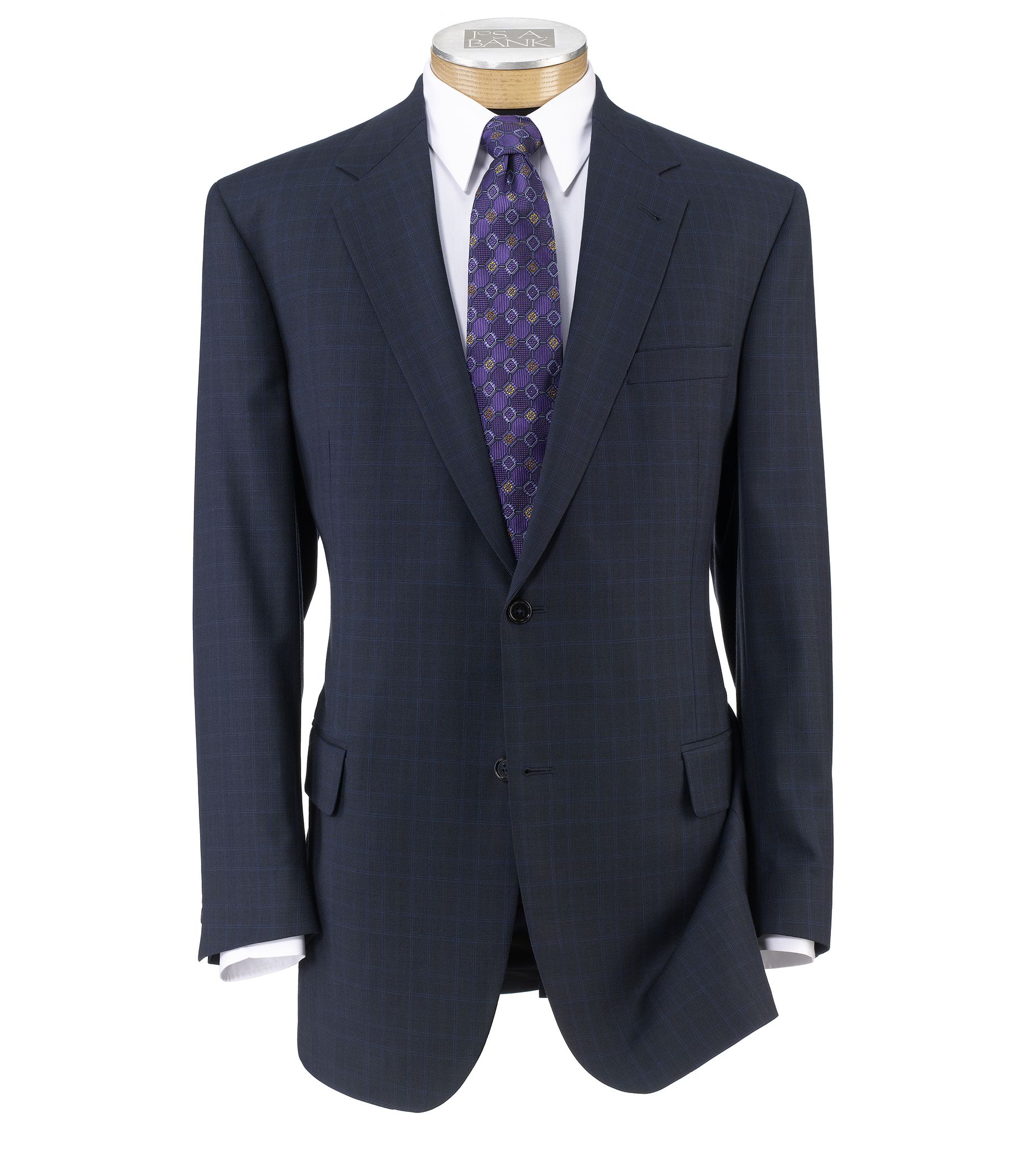 Signature Fashion Suit with Pleated Trousers- Navy Plaid