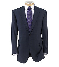 Signature Fashion Suit with Pleated Trousers Extended Sizes- Navy Plaid