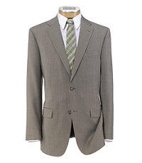 Traveler Tailored Fit 2-Button Suit with Plain Front Trousers- Light Olive Sharkskin