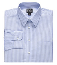 Traveler Tailored Fit Point Collar Variegated Stripe Dress Shirt