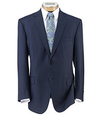 Signature Imperial Wool/Silk Suit with Plain Front Trousers- Blue Stripe
